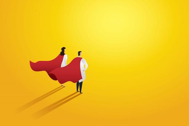スーパードクター2人プロの赤いスーパーヒーローのマント。キャラクター。 Premiumベクター