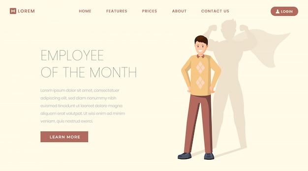 Super employee landing page template Premium Vector