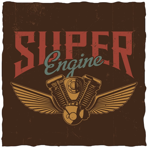 Super engine poster with hand drawn motorcycle spare part and two wings Free Vector