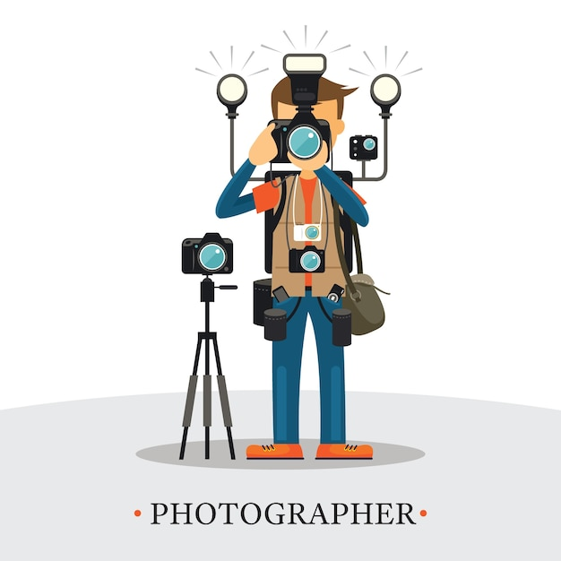 Super equipment photographer, man holding and aiming cameras, carrying too many accessories Premium Vector