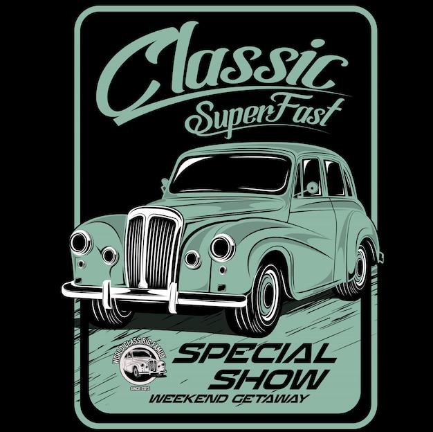 Super fast classic, illustrated car vector Premium Vector