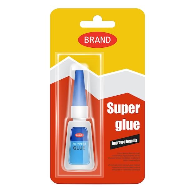 Super fix glue tube realistic Free Vector