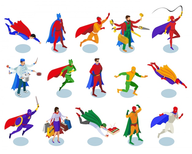 Super heroes character set Free Vector
