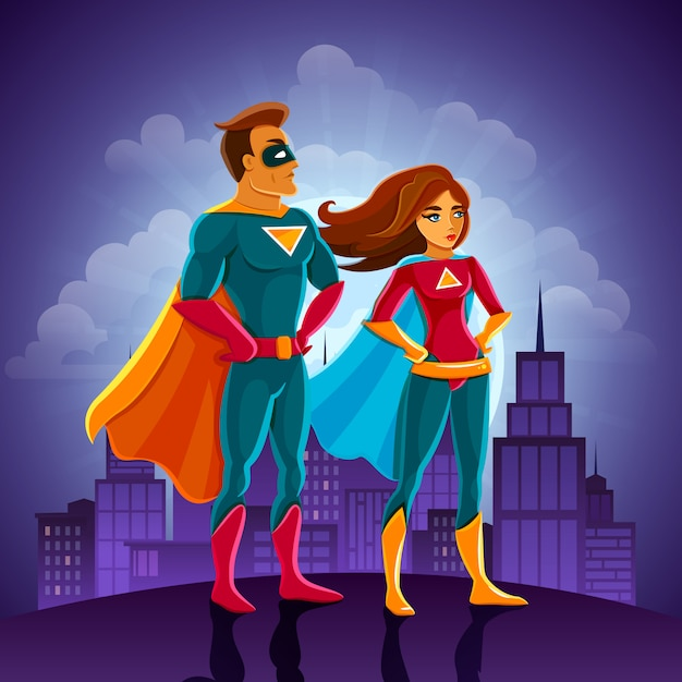 Super heroes couple Free Vector