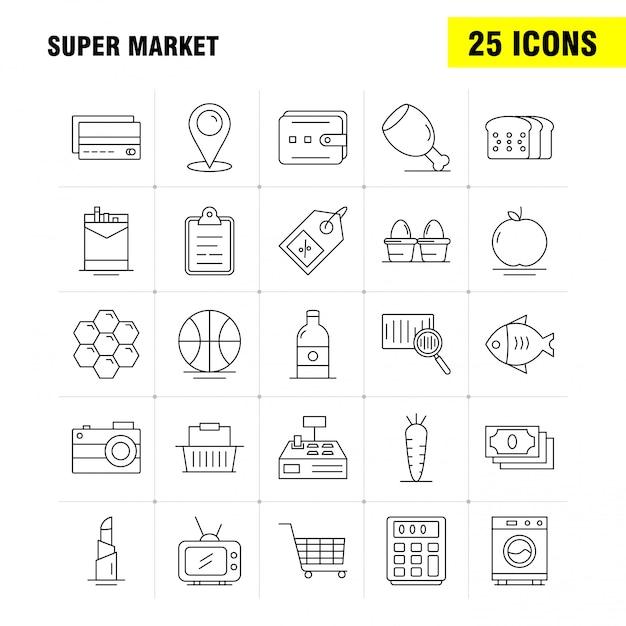 Icone di linea del super mercato Vettore gratuito