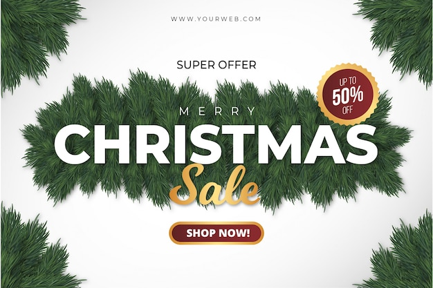 Super merry christmas sale banner Free Vector