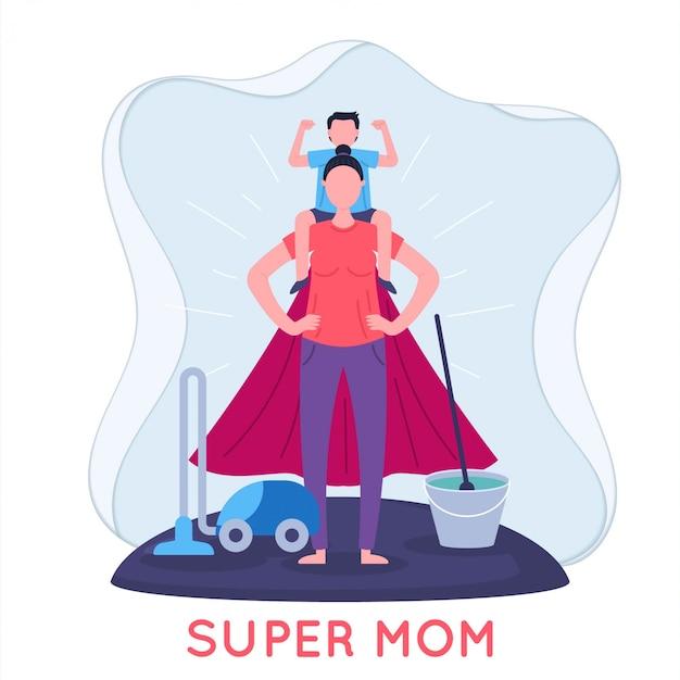 Super mom and child flat illustration Premium Vector