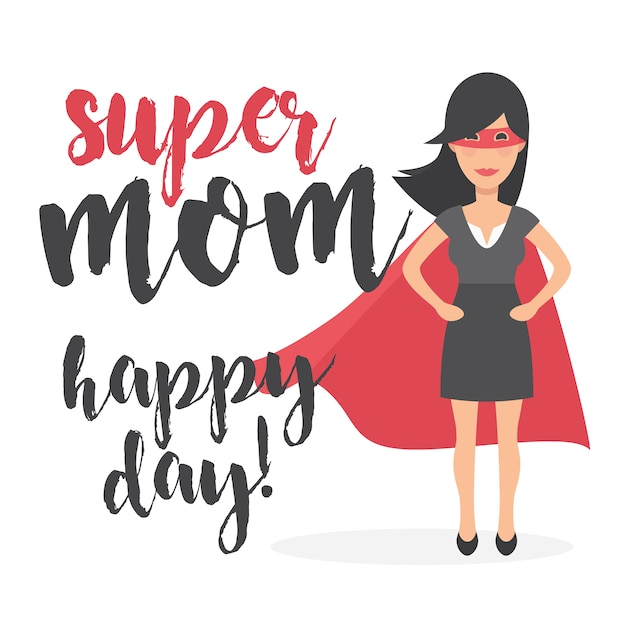 Super mom happy day background Free Vector