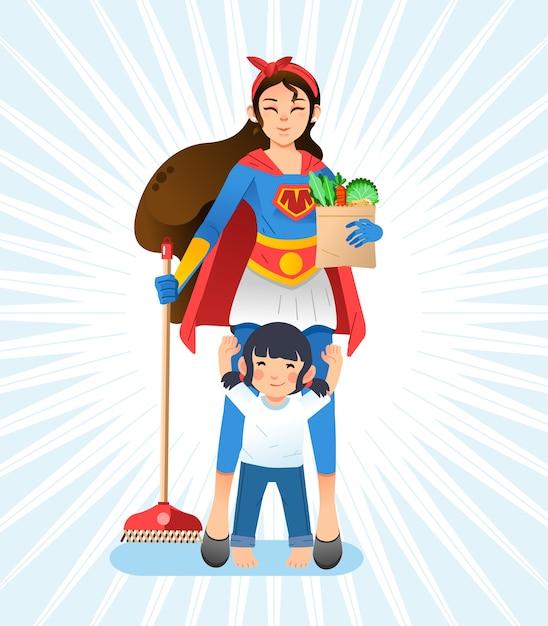 スーパーママ、ほうきと食料品を保持しているスーパーヒーローの衣装を着ている母親、母親の前に立って手を上げる小さな娘。ポスター、本の表紙などに使用 Premiumベクター