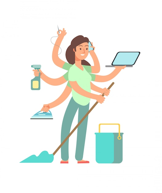 Super mom  . stressed mother in business and housework activities Premium Vector