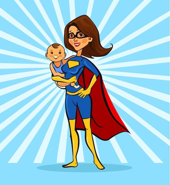 Super mom. Premium Vector