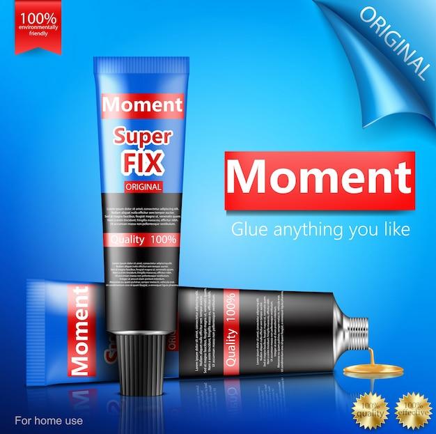 Super or moment glue tube realistic Free Vector