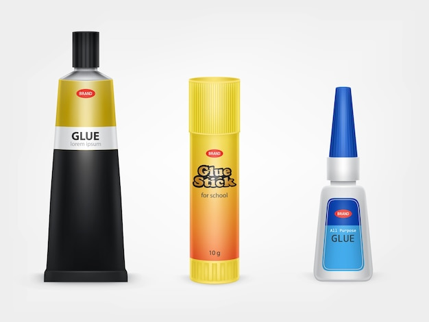 Super and moment glue tubes Free Vector