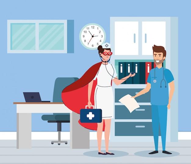 Супер медсестра и фельдшер в кабинете Premium векторы