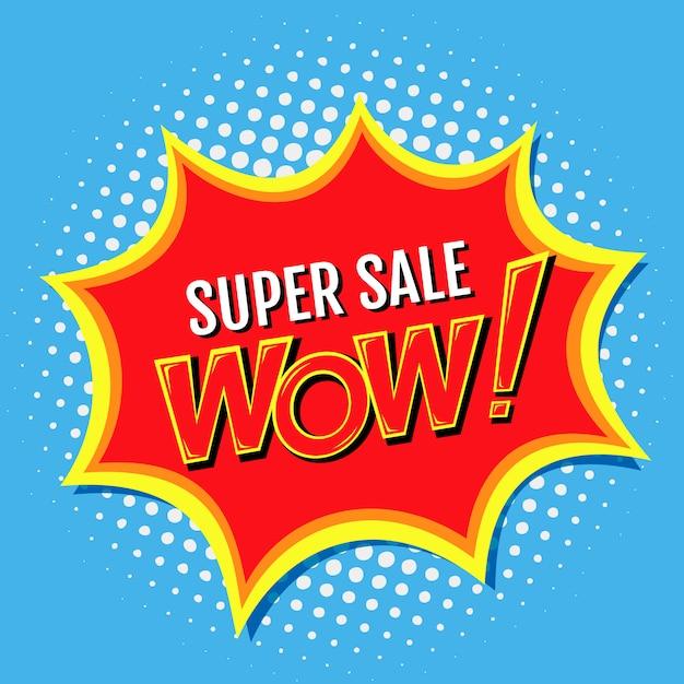 Супер распродажа баннера в стиле комиксов поп-арт с надписью wow !, иллюстрация Premium векторы