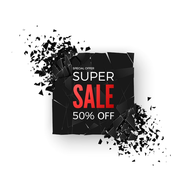 Super sale banner - 50% special offer. layout with abstract explosion effect elements.  concept.  illustration Premium Vector