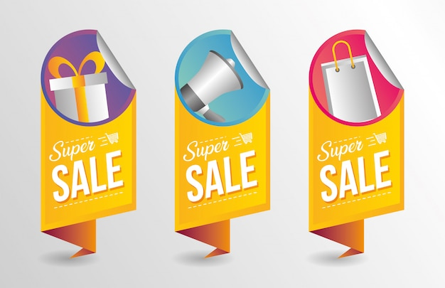 Super sale banner collection Free Vector