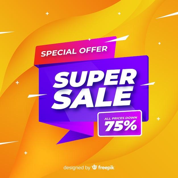 Super sale banner design Free Vector