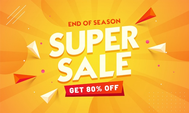 Super sale banner. end of season Premium Vector
