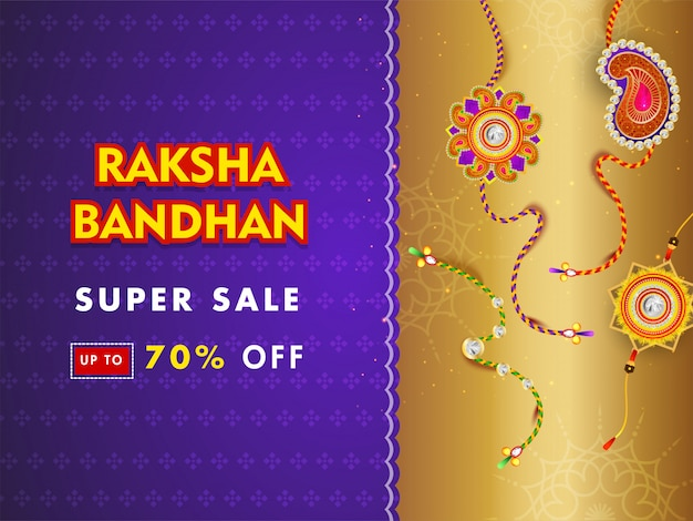 Super sale banner or poster design with 70% discount offer and different rakhi (wristbands) on purple and golden background. Premium Vector
