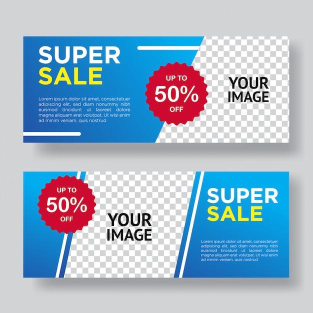 Super sale banner template design Premium Vector