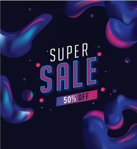 Super sale banner Premium Vector