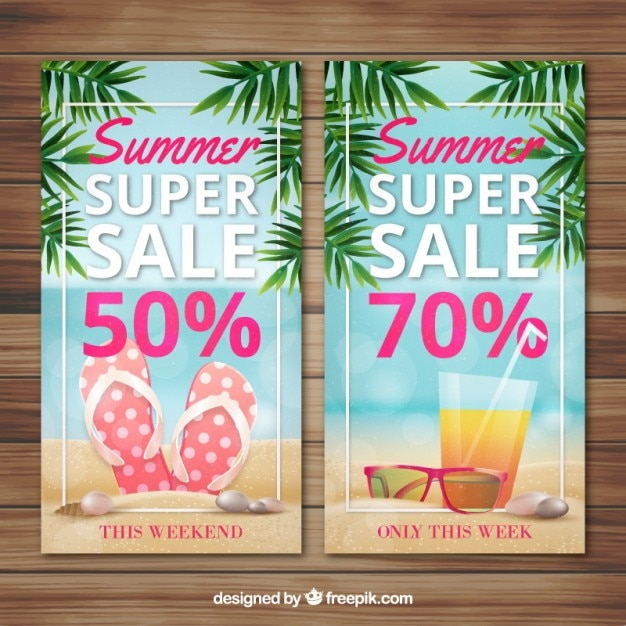 Super sale banners of summer Free Vector