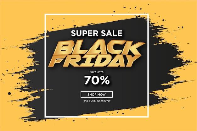 Banner giallo super vendita black friday con cornice e cornice nera con tratto di pennello Vettore gratuito