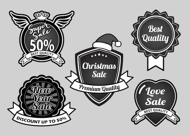 Super sale, christmas, happy new year and event best quality badges Premium Vector