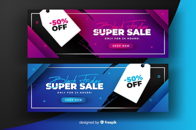 Super sale gradient black friday banners Free Vector