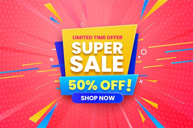 Super sale horizontal banner Free Vector