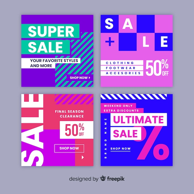 Super sale instagram post collection Free Vector