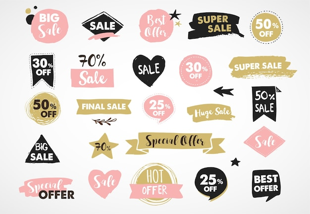 Super sale labels, moderntickers and tags template design Premium Vector