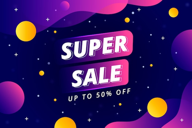 Super sale and liquid space design background Free Vector