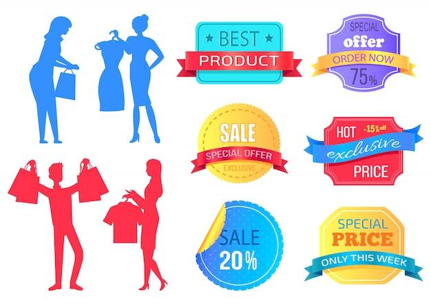 Super sale, mega discount people shopping bag Premium Vector