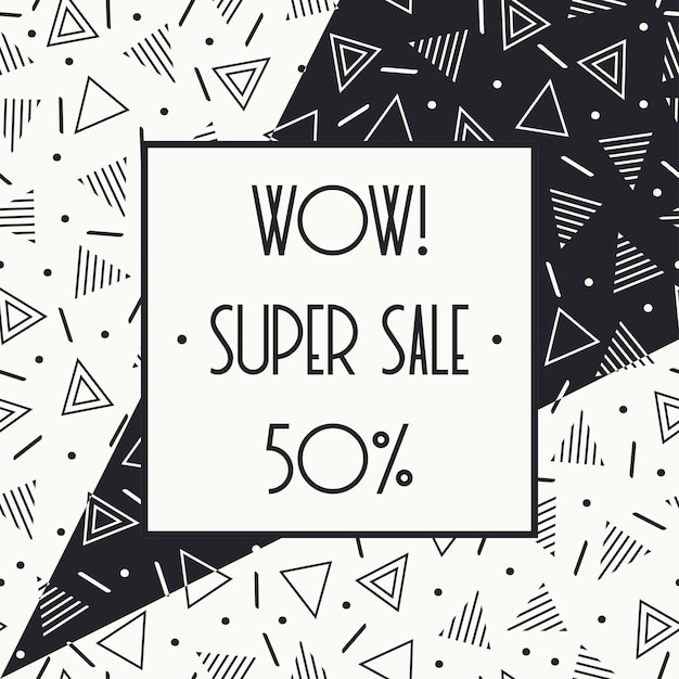 Super sale memphis banner. discount up to 50 percent off. shop now. half price off. Premium Vector