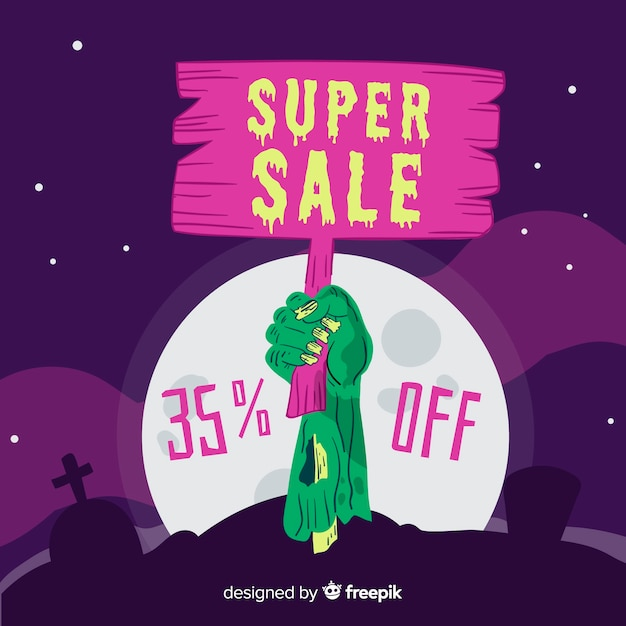 Super sale placard holding by a zombie Free Vector