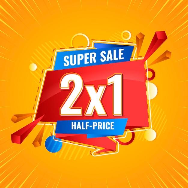 Super sale promo banner Premium Vector