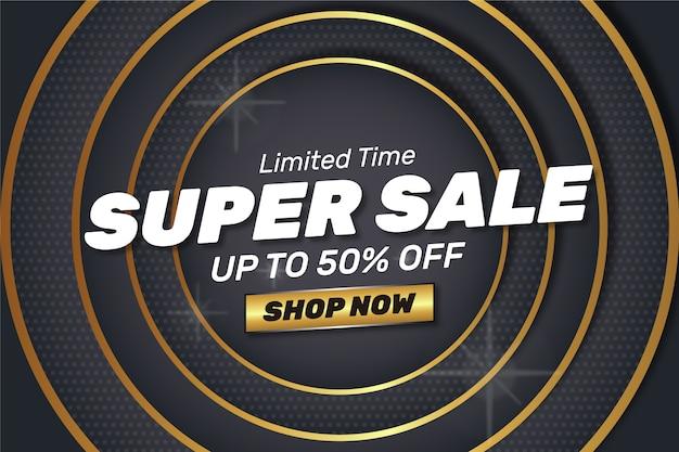 Super sale shop now abstract golden dark background Free Vector