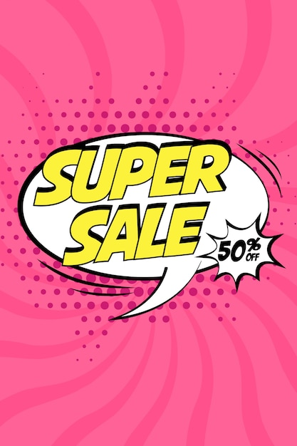 Super Sale Vector Design With Comic Speech Bubble In Pop