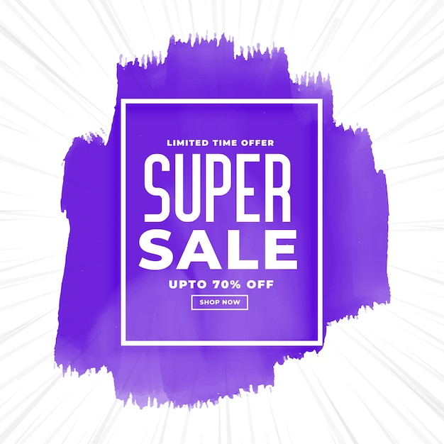 Super sale watercolor purple Free Vector