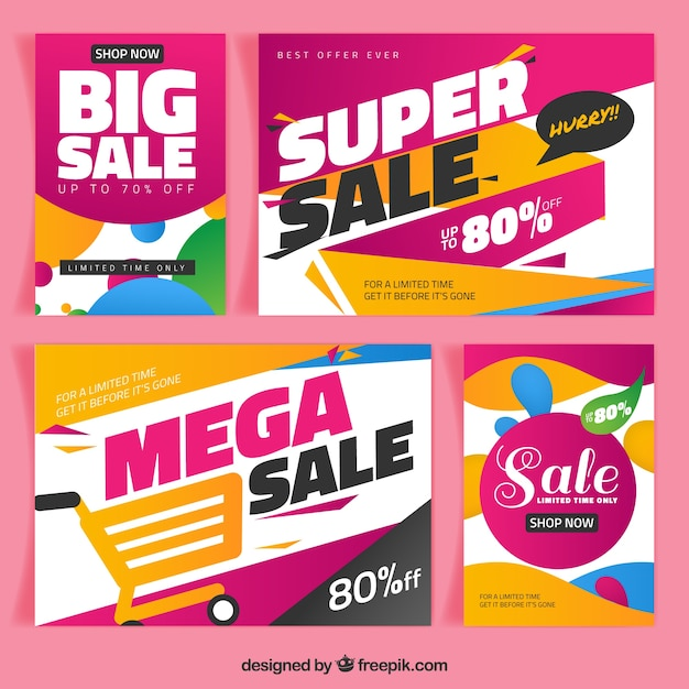 Super sales brochures in abstract style Free Vector