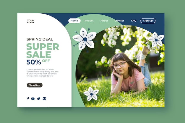 Super sales and girl in park landing page Free Vector