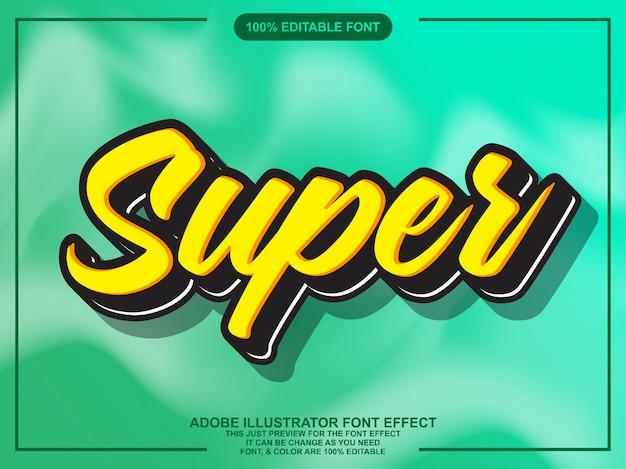 Super script editable typography font effect Premium Vector
