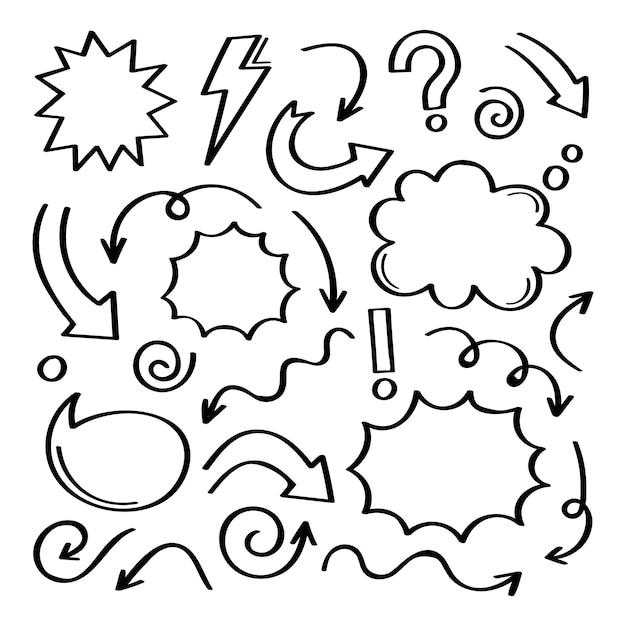 スーパーセット別の手描きの要素。矢印、王冠、円、白い背景のいたずら書きのコレクション。グラフィック。 Premiumベクター