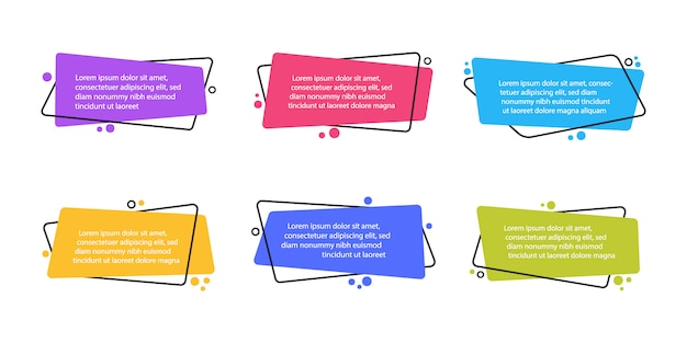 Super set different shape geometric flat banners. modern abstract shapes for quote and text. modern flat style Premium Vector