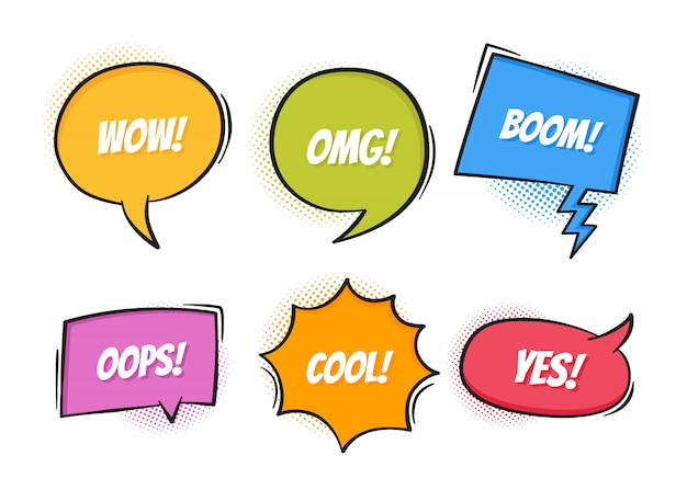 Super set retro colorful comic speech bubbles with halftone shadows on white background. expression text oops, yes, omg, boom, cool, wow. , retro pop art style Premium Vector