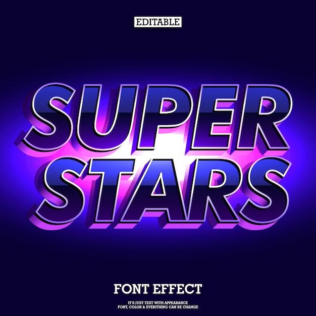 Super stars futuristic and elegant font Premium Vector