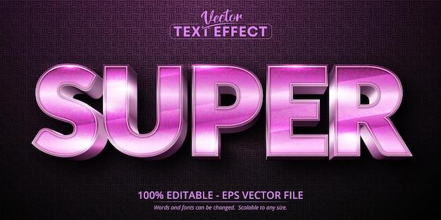 슈퍼 텍스트, 반짝이는 핑크 색상 스타일 편집 가능한 텍스트 효과 프리미엄 벡터