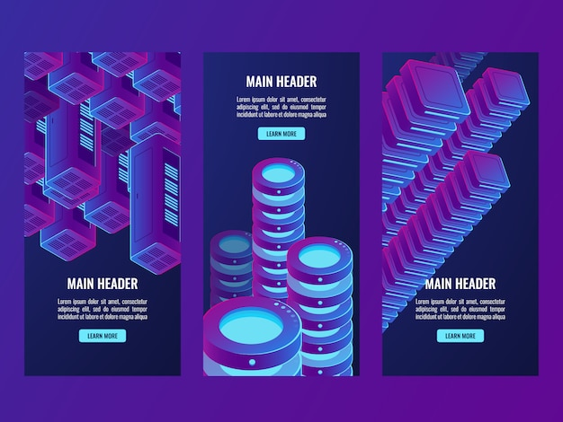 Super ultraviolet banners, digital data and futuristic technology, server room, cloud storage Free Vector